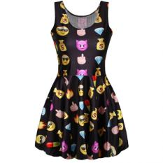 Cheaper Novelty Fun Emoji Emotion Icon Reversible Shiny Stretchy One Piece Skater Dress Black Intl