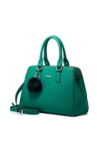 Nucelle 1170579 07 Leather Purse Satchel Tote Shoulder Handbag Wool Plush Ball Women Green Shop