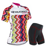 Nuckily Women S Cycling Wear Rainbow Line Short Sleeve Breathable Road Bike Jersey Suit Small On China