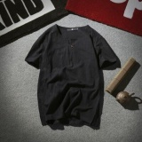Ocean Fashion Men T Shirts Leisure Flax Button Short Sleeve Black Intl Oem Discount