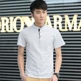 Sale Ocean Fashion Men T Shirts Mandarin Collar Short Sleeve Simple Solid Color Cotton T Shirt White Intl China Cheap