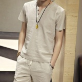 Ocean Fashion Men T Shirts V Neck Short Sleeve Simple Solid Color Cotton T Shirt Apricot Intl For Sale