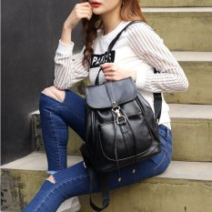 Discount Ocean Fashion New Woman Backpack Zipper Pu College Wind Backpack Casual Collocation Tide Pack Black Intl Oem China
