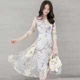 Recent Ocean New Fashion Women Dresses High End Printing Organza Swing Dresses Yellow Flower Intl