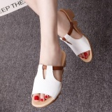 Low Cost Ocean New Fashion Women Flat Sandals Comfortable Heel Thick Bottom Sandals White Intl