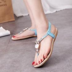 Ocean New Fashion Women Flat Sandals Imbue Diamond Han Edition Comfortable Flat Shoes Blue Intl Cheap