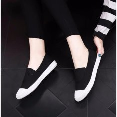 Best Offer Ocean New Ladies Fashion Flat Shoes Han Edition Canvas Shoes Black Intl
