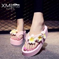 Retail Price Ocean New Ladies Fashion Flip Flops Sandals Flower Beach Shoes Pink Intl