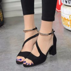 Ocean New Ladies Fashion High Heeled Sandals A Word Buckle Fish Mouth Shoes Black Intl China