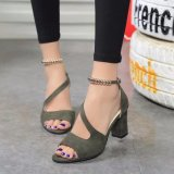 Ocean New Ladies Fashion High Heeled Sandals A Word Buckle Fish Mouth Shoes Green Intl Coupon