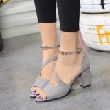 Ocean New Ladies Fashion High Heeled Sandals A Word Buckle Fish Mouth Shoes Grey Intl Compare Prices