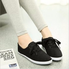 Ocean New Ladies Fashion Sports Shoes Candy Color Canvas Flat Shoes(Black) Intl Best Price