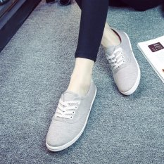 Who Sells Ocean New Ladies Fashion Sports Shoes Candy Color Canvas Flat Shoes(Grey) Intl Cheap