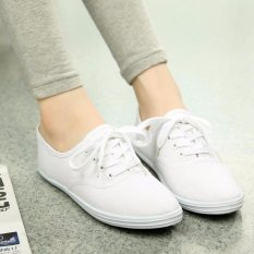Ocean New Ladies Fashion Sports Shoes Candy Color Canvas Flat Shoes(White) Intl Coupon