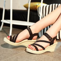 Review Ocean New Ladies Fashion Wedge Sandals Bohemia Beach Shoes High Heels Black Intl China