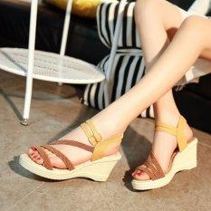 Review Ocean New Ladies Fashion Wedge Sandals Bohemia Beach Shoes High Heels Brown Intl Oem