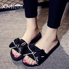 Price Comparison For Ocean New Ladies Flat Bow Slippers Sandal Sandals Black Intl