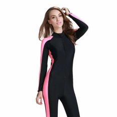 Coupon Ocean New Lady Conjoined Bathing Suit Uv Protection Long Sleeve Diving Suit(Black Pink Intl