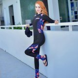 Compare Ocean New Lady Conjoined Diving Suit Large Code Long Sleeve Surfing Clothes Black Intl