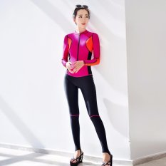 Price Comparisons For Ocean New Lady Conjoined Diving Suit Long Sleeve Prevent Bask In A Bathing Suit Red Intl