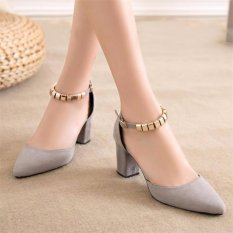 Compare Price Ocean New Lady Fashion High Heels Han Edition Joker A Word Buckle Shoes(Grey) Intl On China
