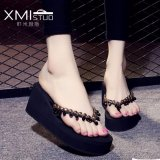 Buy Ocean New Lady S Fashion Slippers Wedge And Beaded Sandals Black Intl Online China