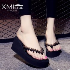 Retail Price Ocean New Lady S Fashion Slippers Wedge And Beaded Sandals Black Intl