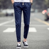 Ocean New Men Fashion Chinos Leisure Ankle Banded Pants Haren Pants Blue Intl Coupon