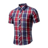 Buy Ocean New Men Fashion Shirts Lattices With Short Sleeves Cotton Shirts Casual Shirts Intl Oem Original