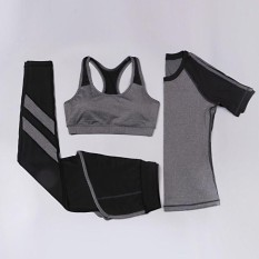 Ocean New Sports Women 3 Pieces Running Movement Fitness Yoga Suitt-Shirt+pants+sports Bra(grey)   - Intl By Theonely.