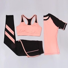 Ocean New Sports Women 3 Pieces Running Movement Fitness Yoga Suitt-Shirt+pants+sports Bra(orange)  - Intl By Theonely.