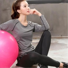 Ocean New Sports Women Base Layers 2 Pieces Shirts+pants Runningtrousers Fitness Yoga Suit(grey)   - Intl By Theonely.