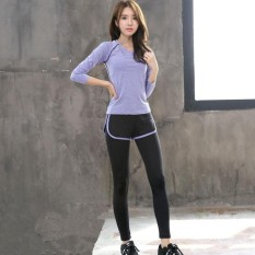 Ocean New Sports Women Base Layers 2 Pieces Shirts+pants Runningtrousers Fitness Yoga Suit(purple)  - Intl By Theonely.