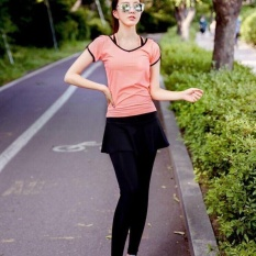 Ocean New Sports Women Base Layers 2 Pieces T-Shirts+culotterunning Trousers Fitness Yoga Suit(pink)  - Intl By Theonely.