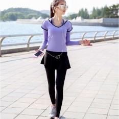 Ocean New Sports Women Base Layers 2 Pieces T-Shirts+culotterunning Trousers Fitness Yoga Suit(purple)   - Intl By Theonely.