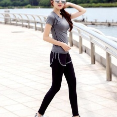 Ocean New Sports Women Base Layers 2 Pieces T-Shirts+pants Runningtrousers Fitness Yoga Suit(grey+black)  - Intl By Theonely.