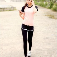 Ocean New Sports Women Base Layers 2 Pieces T-Shirts+pants Runningtrousers Fitness Yoga Suit(pink+black)  - Intl By Theonely.
