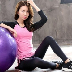 Ocean New Sports Women Base Layers 2 Pieces T-Shirts+pants Runningtrousers Fitness Yoga Suit(rose And Black)  - Intl By Theonely.