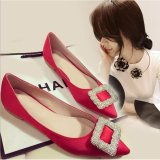 Ocean New Woman Fashion Flat Shoes Rhinestone Buckle Shoes Pointed Flat Shoes Red Intl On China