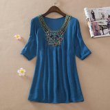 Purchase Ocean New Women Blouses Bead Embroidery Large Size Ladies Bamboo Cotton Blouses(Blue) Intl