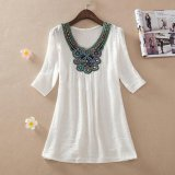 Compare Prices For Ocean New Women Blouses Bead Embroidery Large Size Ladies Bamboo Cotton Blouses(White) Intl