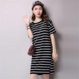 Review Ocean New Women Fashion Dresses T Shirt Han Edition Boutique Short Sleeve Pure Cotton Stripe Dress Black Intl Oem