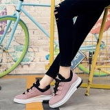How To Buy Ocean New Women Fashion Sneakers Han Edition Flat Lace Up Breathable Run Casual Shoes Pink Intl
