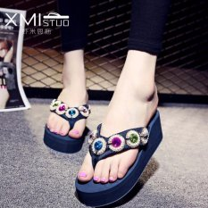 Compare Price Ocean New Women S Platform Sandals With Flip Flops Blue Intl On China