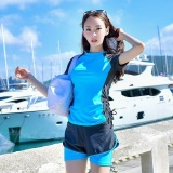Sale Ocean Women S 2 Pieces Conservative Swimsuit Hot Spring Tankinis Swimwear Short Sleeved Shorts Blue Intl