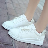 New Ocean Women S Fashion Sneakers Pearl Thick Bottom Student Casual Shoes Breathable Sneakers White And Silver Intl