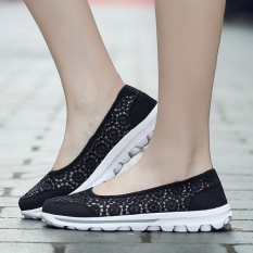 Cheap Ocean Women S Shoes Flat Shoes Hollow Out Lace Leisure Ventilation Pregnant Shallow Shoes Black Intl Online