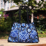 Sale National Style New Style Embroidered Bag Celadon Peony Flower Trumpet Celadon Peony Flower Trumpet Oem Branded