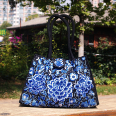 Sale National Style New Style Embroidered Bag Celadon Peony Flower Trumpet Celadon Peony Flower Trumpet On China