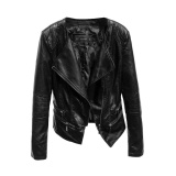 Wholesale Oh Korean Women Soft Pu Leather Jacket Autumn Winter Solid Color Outwear Coat Black Intl